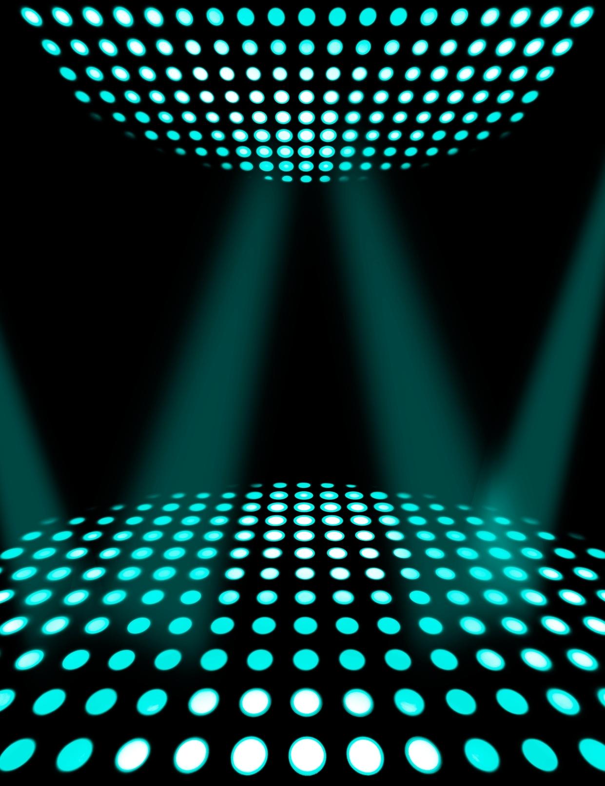 Dance floor disco poster background. Cyan spotlights